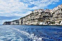 Corsica-sea coast and town Bonifacio Royalty Free Stock Photos