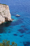 A view of the sea on the coast of Zante Greece. A picture of the stunning blue sea along the coastline of Zante in Greece Royalty Free Stock Image