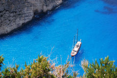 A view of the sea on the coast of Zante Greece. A picture of the stunning blue sea along the coastline of Zante in Greece stock photography