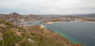 View of Sea of Cortes and Cabo San Lucas marina as seen from the top of Mount Solmar in Baja California Mexico. View of Sea of Cortes and Cabo San Lucas marina Royalty Free Stock Photography