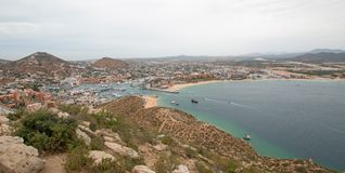 View of Sea of Cortes and Cabo San Lucas marina as seen from the top of Mount Solmar in Baja California Mexico. View of Sea of Cortes and Cabo San Lucas marina Royalty Free Stock Photo