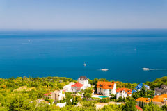 The view of the sea from the Crimean coast. Royalty Free Stock Images