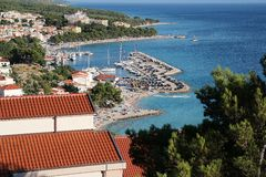 View of sea in Croatia. View of the coast of Croatia with a Baška Voda village Stock Images