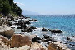 View of sea in Croatia. View of the coast of Croatia with a big stones royalty free stock image