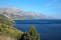 View of sea in Croatia. View of the coast of Croatia with a Biokovo mountain royalty free stock photos