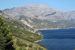 View of sea in Croatia. View of the coast of Croatia with a Biokovo mountains royalty free stock photography