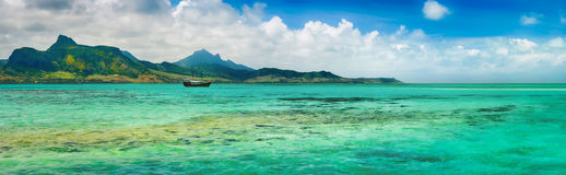 View of a sea at day time. Mauritius. Panorama Royalty Free Stock Photo