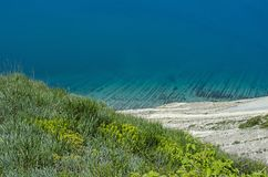 View of the sea depth and fragrant herbs from the mountain. View of the Black sea depth and fragrant herbs from the mountain Royalty Free Stock Photo