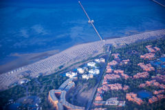 View on the sea and the desert from an airplane.View on the touristic resort and Red Sea from an airplane. Egypt Stock Images