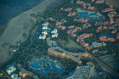 View on the sea and the desert from an airplane.View on the touristic resort and Red Sea from an airplane Stock Images