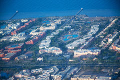 View on the sea and the desert from an airplane.View on the touristic resort and Red Sea from an airplane Royalty Free Stock Photos
