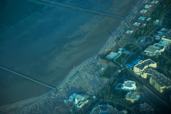 View on the sea and the desert from an airplane.View on the touristic resort and Red Sea from an airplane Stock Photos