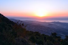 View of the sea of Galilee Kineret lake from mountain. Northen Israel Stock Photography
