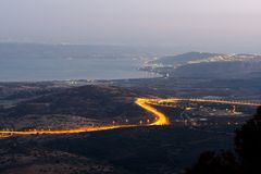 View of the sea of Galilee Kineret lake from mountain. Northen Israel. Night landscape Royalty Free Stock Photo