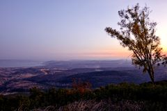 View of the sea of Galilee Kineret lake from mountain. Northen Israel Royalty Free Stock Images