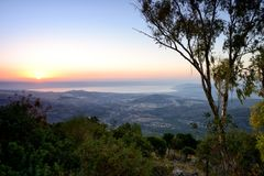 View of the sea of Galilee Kineret lake from mountain. Northen Israel Royalty Free Stock Photos