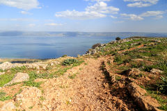 A view of the Sea of Galilee from Mount Arbel Stock Image