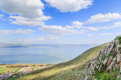 A view of the Sea of Galilee from Mount Arbel Royalty Free Stock Photo