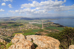 A view of the Sea of Galilee from Mount Arbel. Sea of Galilee from Mount Arbel Stock Photo