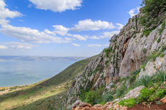 A view of the Sea of Galilee from Mount Arbel. Sea of Galilee from Mount Arbel Stock Images