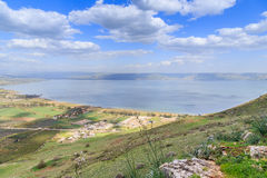 A view of the Sea of Galilee from Mount Arbel. Sea of Galilee from Mount Arbel Stock Image