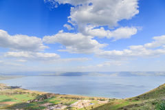 A view of the Sea of Galilee from Mount Arbel Royalty Free Stock Images