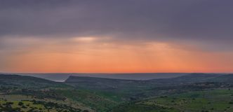View on the sea of Galilee. At sunset Royalty Free Stock Images