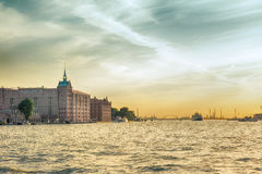 View from the sea on Giudecca Canal at sunset, Venice Royalty Free Stock Photos