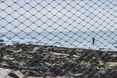 View of the sea through the grid Wallpapers. Sea view through the grid. Seascape. Wallpapers concept. Sea and stones Royalty Free Stock Image