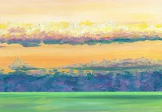 View on the sea horizon with sunset clouds. Calm sea smoothness. Distant horizon. Oil painting Royalty Free Stock Photos