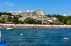 View from the sea at the hotel Crystal Sunrise Queen Luxury Resort & SPA near Side in Turkey stock photos