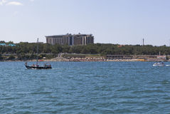 View from of the sea at the hotel Kempinski in the resort city of Gelendzhik, Krasnodar region, Russia. Gelendzhik, Krasnodar region, Russia - July 17, 2015 Royalty Free Stock Photography