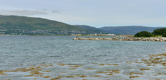 View of sea, island and airport. Tromso. Norway stock photo