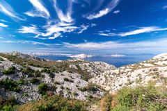 View of the sea, islands and clouds in Croatia stock images