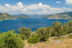 View of sea with islands from mountain Stock Photos