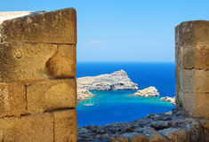 View of the sea through a loophole ancient fortress Royalty Free Stock Images