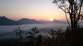 View. Sea-mist mountain sunrise fog background stock photos
