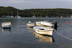 The view of the sea and moored boats Stock Photography