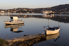 The view of the sea and moored boats Royalty Free Stock Photos