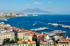 View of the sea near Naples with Vesuvius Stock Photo