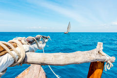 View of sea and ocean with sail from wooden boat Stock Photography