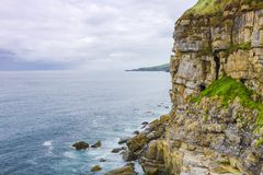 View of the sea and cliffs in Gijon, Asturias, Spain. A view of the sea off the Cliffs in Gijon, Asturias, Spain Stock Images