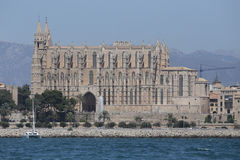 Palma de mallorca cathedral view from sea at Palma bay Royalty Free Stock Image