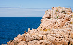 View on sea through pink cliff Royalty Free Stock Image