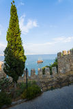 View of sea port of Alanya Stock Photos