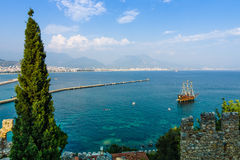 View of sea port of Alanya Stock Photo