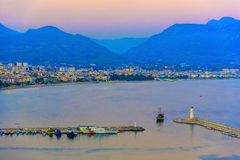 View on sea port of Alanya and lighthouses Stock Photos