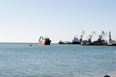 View of the sea port of Berdyansk. Ship in industrial port of Berdyansk Royalty Free Stock Photography