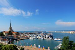 View of the sea port of Sochi Stock Photography