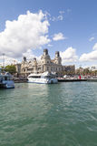 View  from the sea on Port Vell and Barcelona's old Customs building, Barcelona, Spain Royalty Free Stock Photography